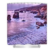 Violet Tides - Rocky Coast From Soberanes Point In Garrapata State  Shower Curtain