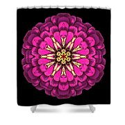 Violet Zinnia Elegans Flower Mandala Shower Curtain