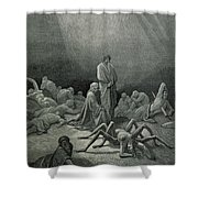 Virgil And Dante Looking At The Spider Woman, Illustration From The Divine Comedy Shower Curtain