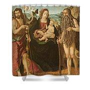 Virgin And Child Between St. John Shower Curtain
