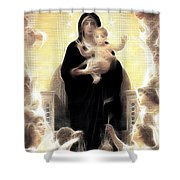 Virgin And Child Fractalius Shower Curtain