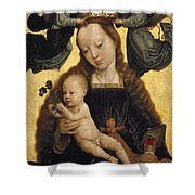 Virgin And Child With Angels Shower Curtain