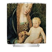 Virgin And Child With Pomegranate Shower Curtain by Hans Holbein the Younger