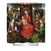 Virgin And Child With Saints Catherine Of Alexandria And Barbara Shower Curtain