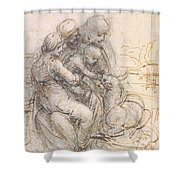 Virgin And Child With St. Anne Shower Curtain by Leonardo da Vinci