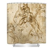 Virgin And Child With Saint Francis Shower Curtain