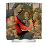 Virgin And Child With St John The Baptist And The Three Archangels Shower Curtain