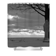 Virgin Mary At Sunset In South Haven Michigan Shower Curtain