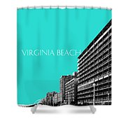 Virginia Beach Skyline Boardwalk  - Aqua Shower Curtain