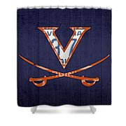 Virginia Cavaliers College Sports Team Retro Vintage Recycled License Plate Art Shower Curtain