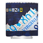 Virginia License Plate Map Art Shower Curtain