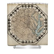 Virginia Map With Civil War Heroes Shower Curtain