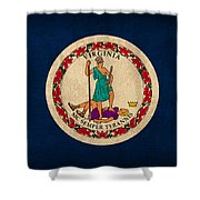Virginia State Flag Art On Worn Canvas Shower Curtain