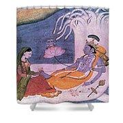 Vishnu And Lakshmi Float Across Cosmos Shower Curtain by Photo Researchers