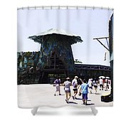 Visitors Heading Towards The Waterworld Attraction At Universal Studios Shower Curtain
