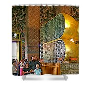 Visitors Pass Bottoms Of Feet Of Reclining Buddha In Wat Po In B Shower Curtain