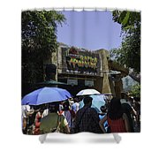 Visitors Thronging The Jurassic Park Rapids Adventure Ride Shower Curtain