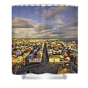Vista Of Reykjavik  Shower Curtain