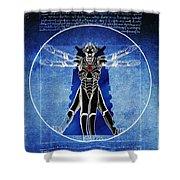 Vitruvian Cyberman In Deep Space  Shower Curtain