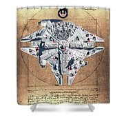 Vitruvian Falcon Millenium Shower Curtain
