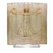 Vitruvian Man By Leonardo Da Vinci  Shower Curtain by Karon Melillo DeVega