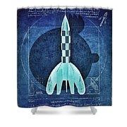 Vitruvian Tintin In Space Shower Curtain