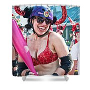Vivacious Bull In New Orleans Running Of The Bulls Shower Curtain