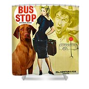 Vizsla Art Canvas Print - Bus Stop Movie Poster Shower Curtain