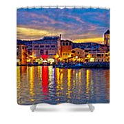 Vodice Waterfront Colorfu Evening Panorama Shower Curtain