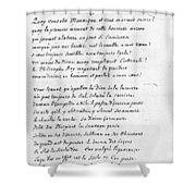Voltaire Letter, 1740 Shower Curtain