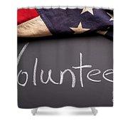Volunteer Sign On Chalkboard Shower Curtain