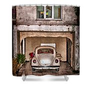 Vw Beetle Painting Shower Curtain