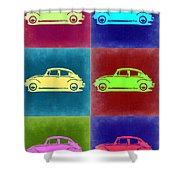 Vw Beetle Pop Art 2 Shower Curtain by Naxart Studio