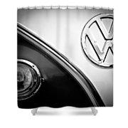 Vw Emblem Black And White Shower Curtain