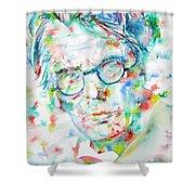 W. B. Yeats  - Watercolor Portrait Shower Curtain