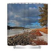 Wachusett Reservoir Frozen Shower Curtain