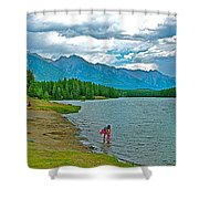 Wading In Johnson Lake In Banff Np-alberta Shower Curtain