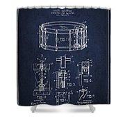 Waechtler Snare Drum Patent Drawing From 1910 - Navy Blue Shower Curtain