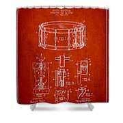 Waechtler Snare Drum Patent Drawing From 1910 - Red Shower Curtain