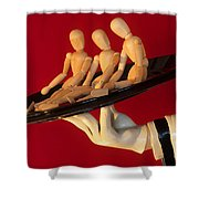 Waiter Serving 3 Dummies Shower Curtain by Bob Christopher