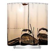 Waiting Boats Shower Curtain