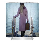 Waiting For A Ship Shower Curtain