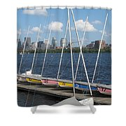 Waiting For Sailors On The Charles Shower Curtain