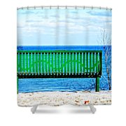 Waiting For Summer - The Green Bench Shower Curtain