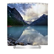 Waiting For Sunrise At Lake Louise Shower Curtain by Teresa Zieba