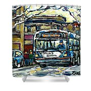 Waiting For The 80 Bus Montreal Memories Winter City Scene Painting January Art Carole Spandau Art Shower Curtain