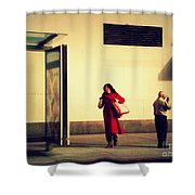 Waiting For The Bus - New York City Street Scene Shower Curtain