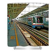Waiting For The Sky Train In Bangkok-thailand Shower Curtain