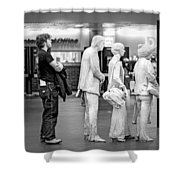 Waiting In Line At Grand Central Terminal 1 - Black And White Shower Curtain