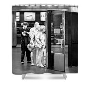 Waiting In Line At Grand Central Terminal 2 - Black And White Shower Curtain